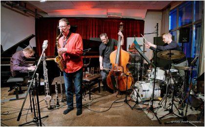 """""""grünen"""" – live recording sessions (5.-8. Juni 2017) Mittwoch 7.6.2017 Achim Kaufmann - piano ; Robert Landfermann - bass ; Christian Lillinger - drums + Frank Gratkowksi - reeds © Peter Tümmers"""