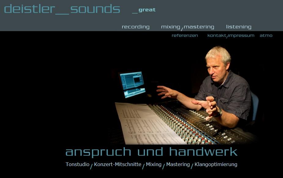 deistler sounds - Internetauftritt von Tonmeister Stefan Deistler