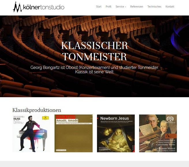 Kölner Tonstudio – Internetauftritt von Tonmeister Georg Bongartz