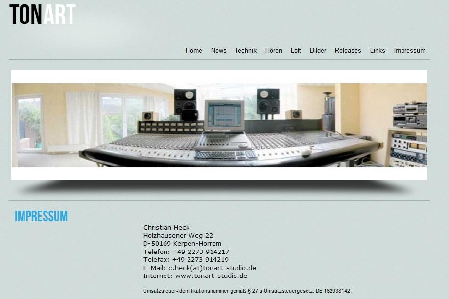 Tonart Studio – Internetauftritt von Tonmeister Christian Heck