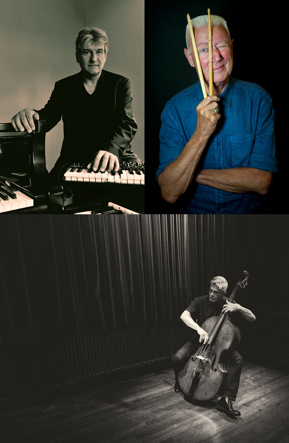 top left: Hans Lüdemann © Volker Beushausen ; top right: Han Bennink © Andreas Terlaak ; bottom: Wilbert de Joode © Sara Anke