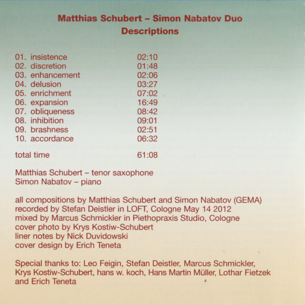 Matthias Schubert, Simon Nabatov, Descriptions Leo Records, Matthias Schubert, Simon Nabatov, LOFT, Cologne, Köln, aufgenommen, recorded, Stefan Deistler