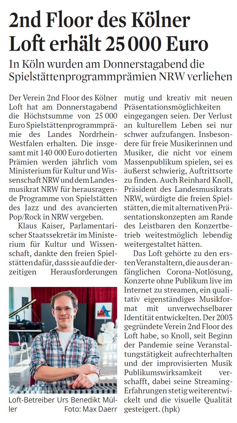 Urs Benedikt Müller, Spielstättenprogrammprämie NRW, Hauptpreis, LOFT, Cologne, Köln, Jazz, livestream